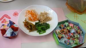 4種類のお料理と和紙で作った小物