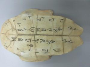 「甲骨文字の書かれた亀甲(カメの甲羅)のレプリカです。実物に近いものを触れてもらうことで、参加者のイメージを膨らませるのに活用しています」(中村談)